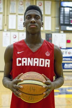 Simi Shittu, from Burlington, but plays in Brampton, one of the prospects for the Cadet Men's National Basketball Team.